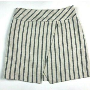 J. Crew Striped Linen Skirt 6 Mini Crossover Wrap